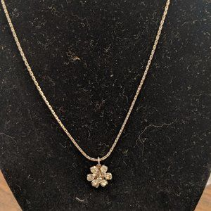 Silver Necklace with Diamond Flower